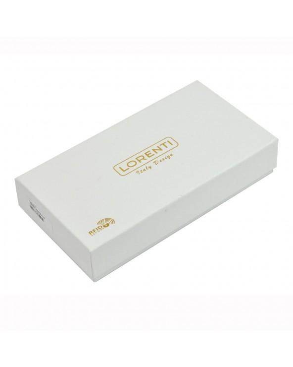 Damski portfel kopertówka skóra węża tęczowy pudełko na prezent