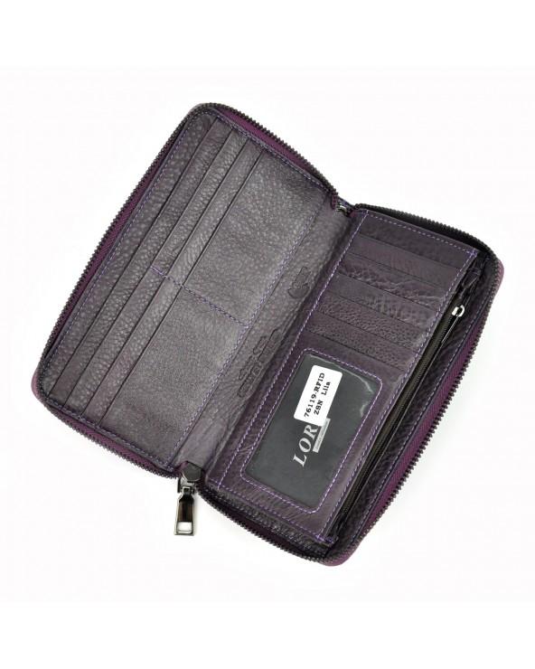 Damski portfel kopertówka skóra węża fioletowy wnętrze