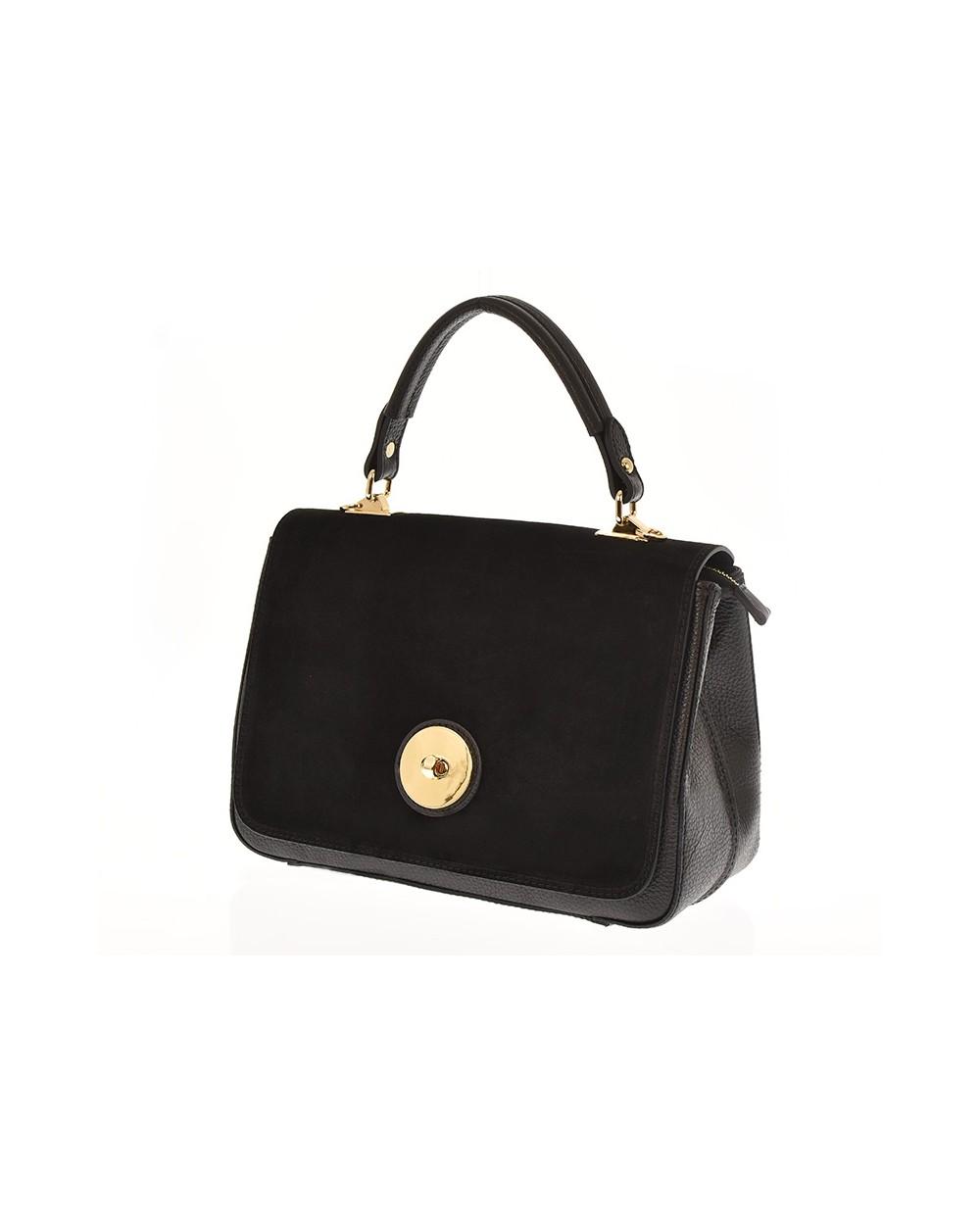 Włoska torebka vera pelle kuferek z zamszem czarna | Torebki damskie skórzane