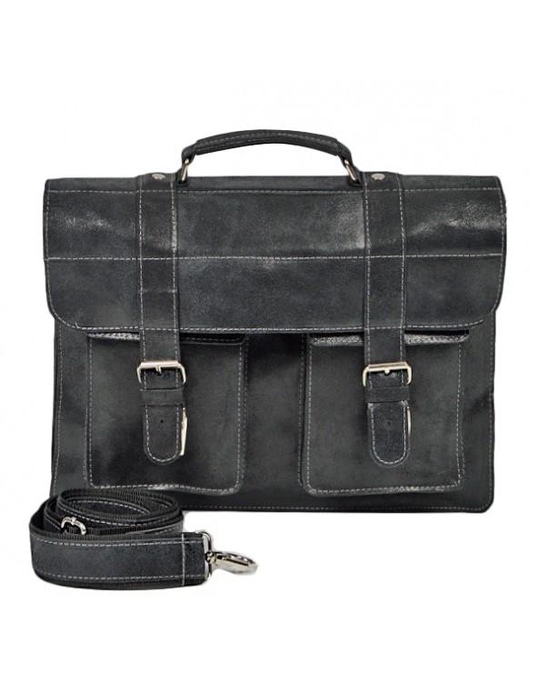 Duża męska skórzana torba na ramię A4 vintage grafit