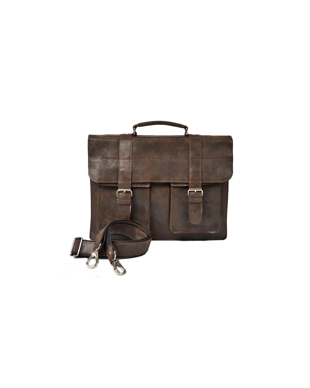 Duża męska skórzana torba na ramię A4 vintage brązowa