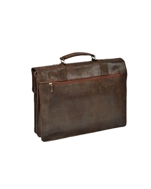 Duża męska skórzana torba na ramię A4 vintage brązowa tył