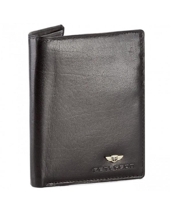 Portfel męski PETERSON 350 klasyczny skórzany Czarny stylowy