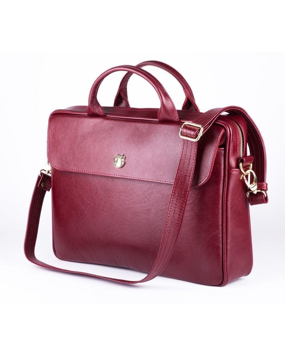 Damska torba na laptopa ze skóry naturalnej burgund to elegancka