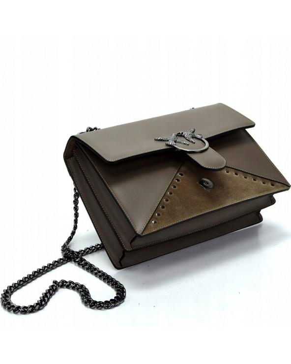 Skórzana kopertówka a'la Pinko taupe otwieranie