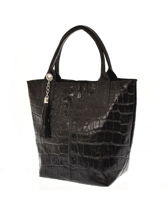 Torebka shopper skóra aligatora czarna