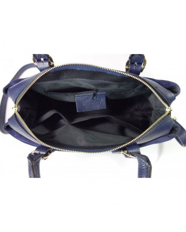Włoska torebka vera pelle kuferek z zamszem granatowa wnętrze