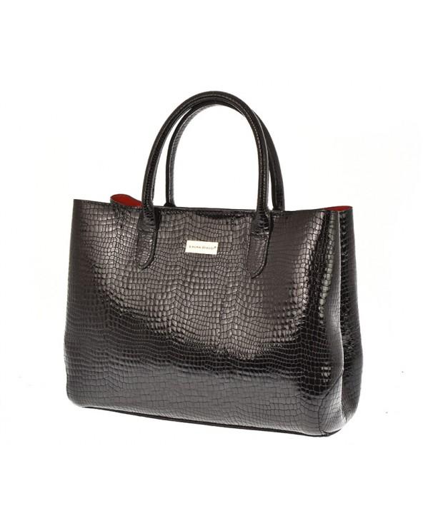 Skórzana torebka Laura Biaggi kuferek skóra krokodyla czarna