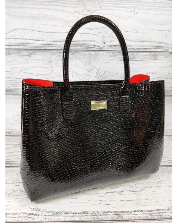 Skórzana torebka Laura Biaggi kuferek skóra lakierowana krokodyla czarna