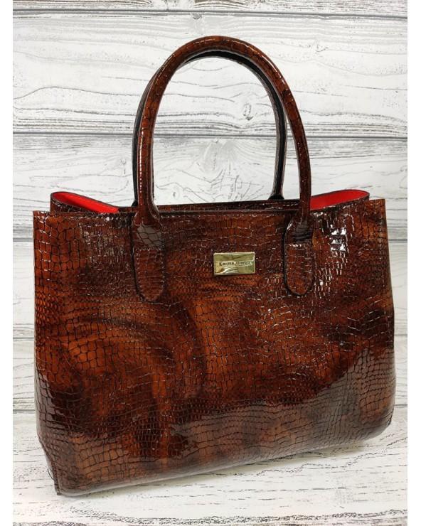 Skórzana torebka Laura Biaggi kuferek skóra krokodyla brązowa klasyczna vera pelle