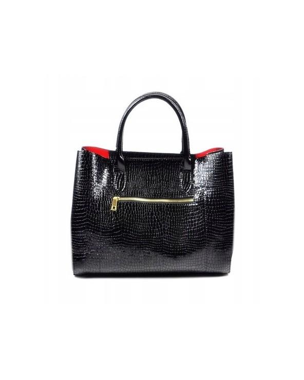 Skórzana torebka Laura Biaggi kuferek skóra krokodyla czarna tył