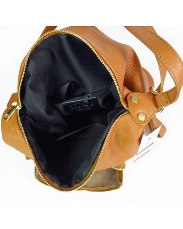 Damski plecak worek skórzany camel wnętrze