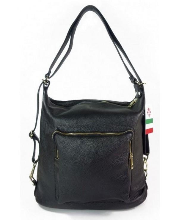 Damski plecak worek skórzany czarny