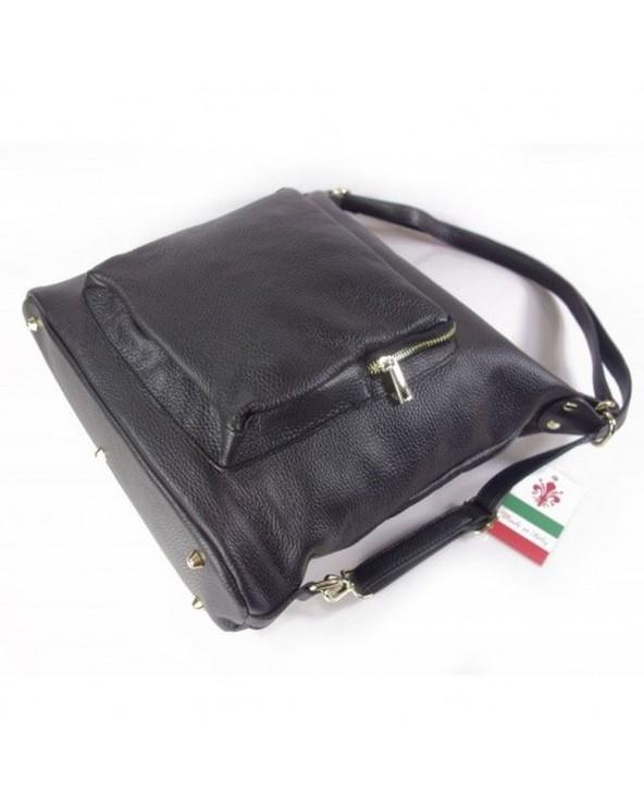 Damski plecak worek skórzany czarny metalowe nóżki