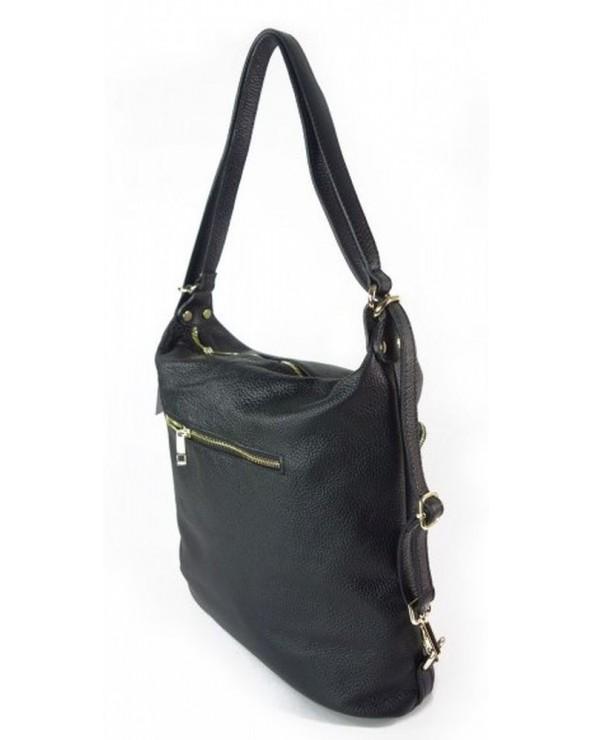 Damski plecak worek skórzany czarny tył