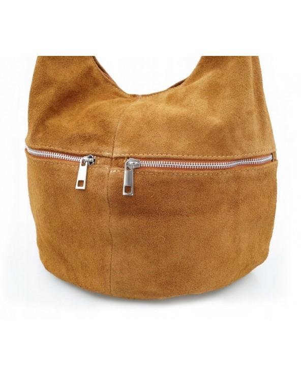 Włoska torebka zamszowy worek z suwakiem camel