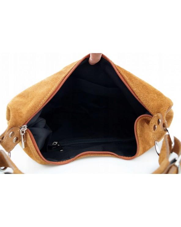 Włoska torebka zamszowy worek camel wnętrze