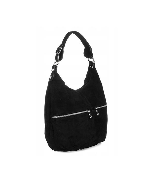 Włoska torebka zamszowa worek czarny