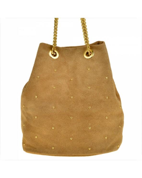 Zamszowa torebka worek z ćwiekami beżowy