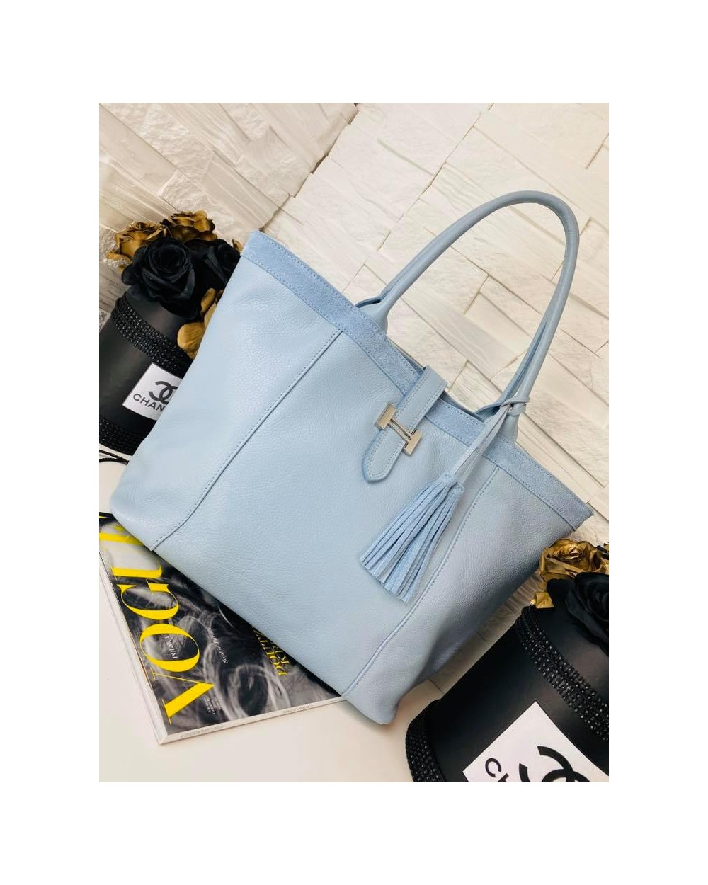 skórzana torebka a'la Hermes 2-funkcyjna błękitna