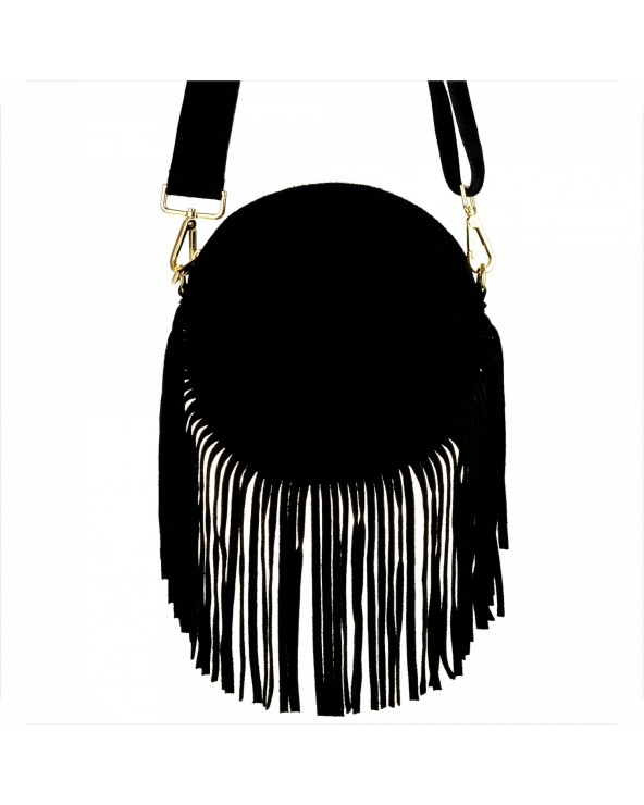 Okrągła czarna zamszowa listonoszka z frędzlami multi pochette Louis Vuitton