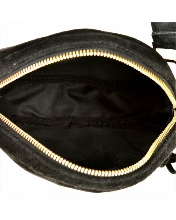 Okrągła czarna zamszowa listonoszka z frędzlami multi pochette wnętrze