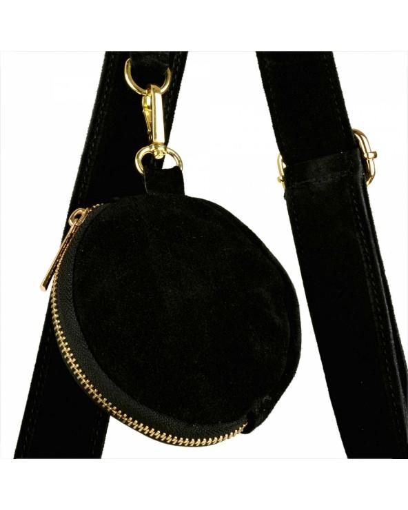 Okrągła czarna zamszowa listonoszka z frędzlami multi pochette portmonetka