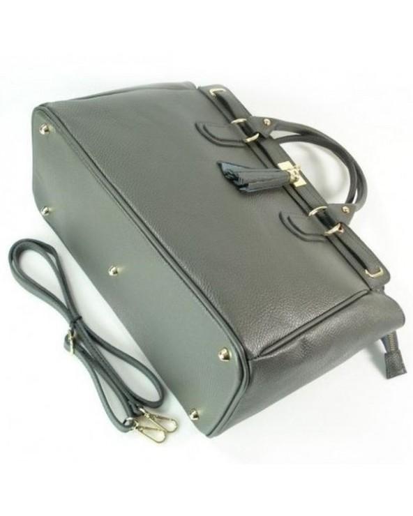 Duża włoska torebka skórzana kuferek z frędzelkiem metalowe nóżki