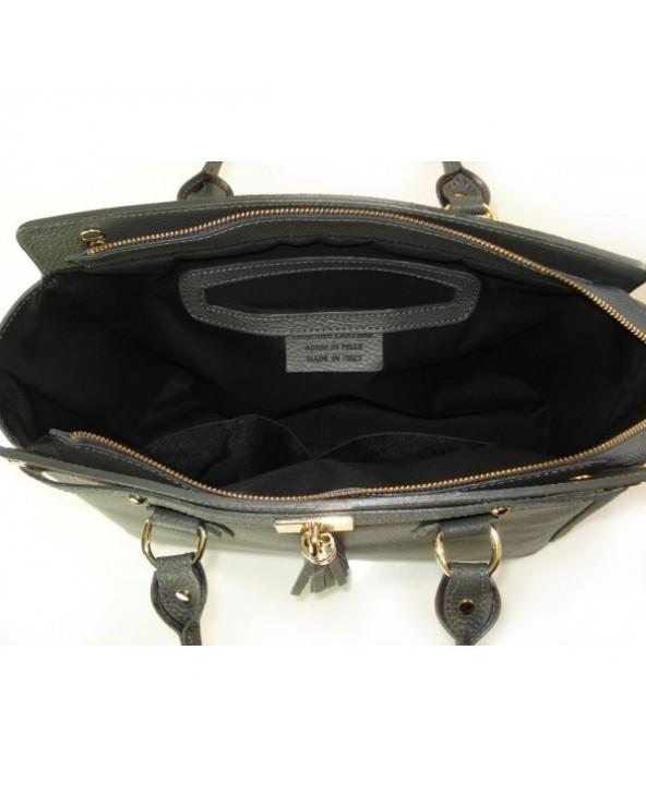 Duża włoska torebka skórzana kuferek z frędzelkiem szara