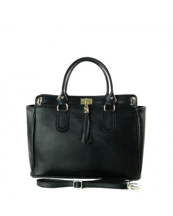 Duża włoska torebka skórzana kuferek z frędzelkiem czarna vera pelle