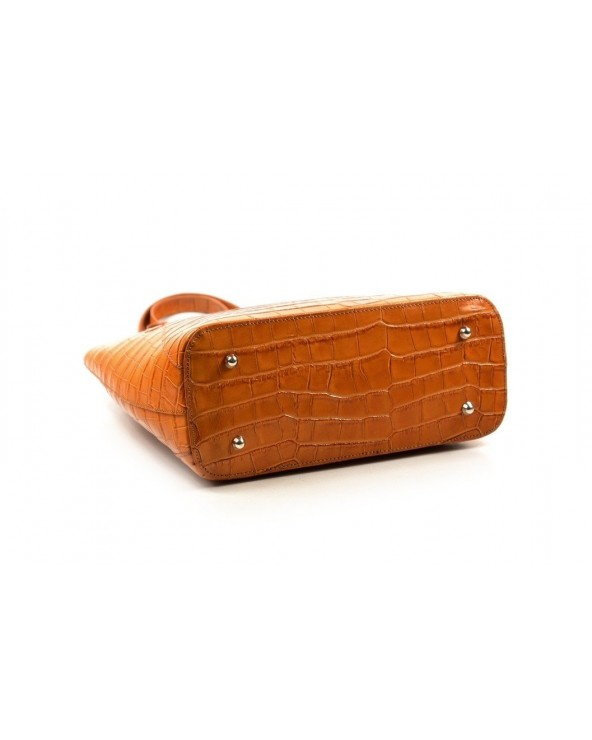 Włoski shopper bag skóra krokodyla camel spód metalowe nóżki