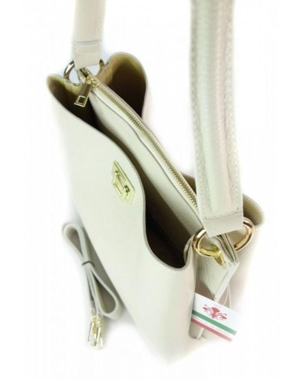 Włoska torebka skórzana a'la Fendi ecru wnętrze