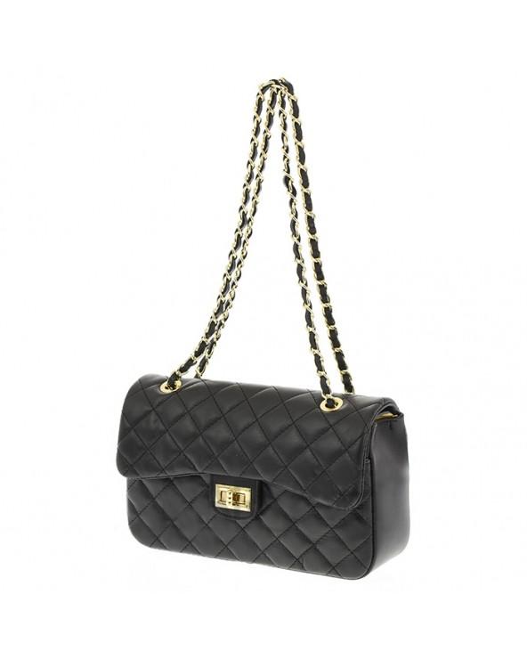 Chanelka torebka skórzana pikowana czarna
