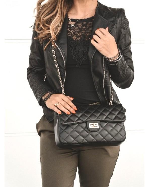 Pikowana torebka chanelka czarna stylowa