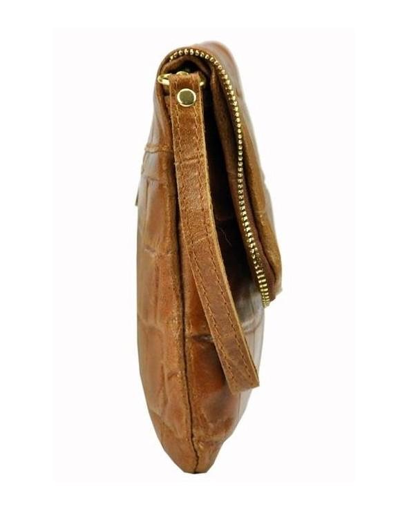 Włoska skórzana kopertówka skóra krokodyla jasny beż tył