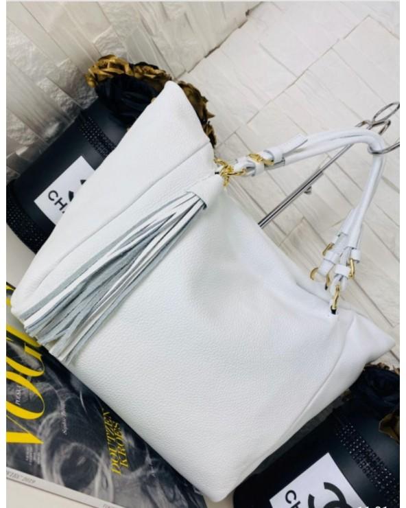 Duża biała skórzana torebka z chwostem vera pelle