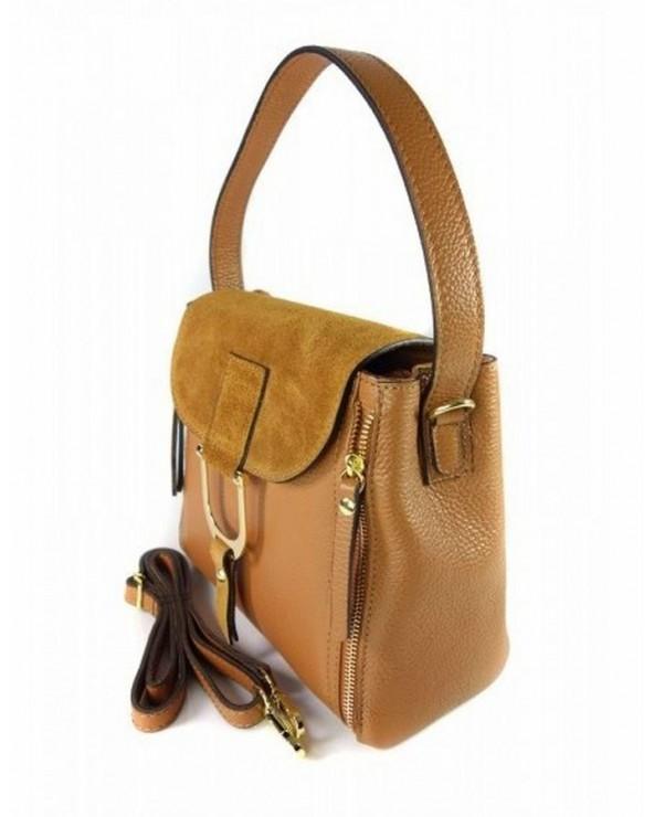 Włoska torebka kuferek listonoszka ala Chloe camel
