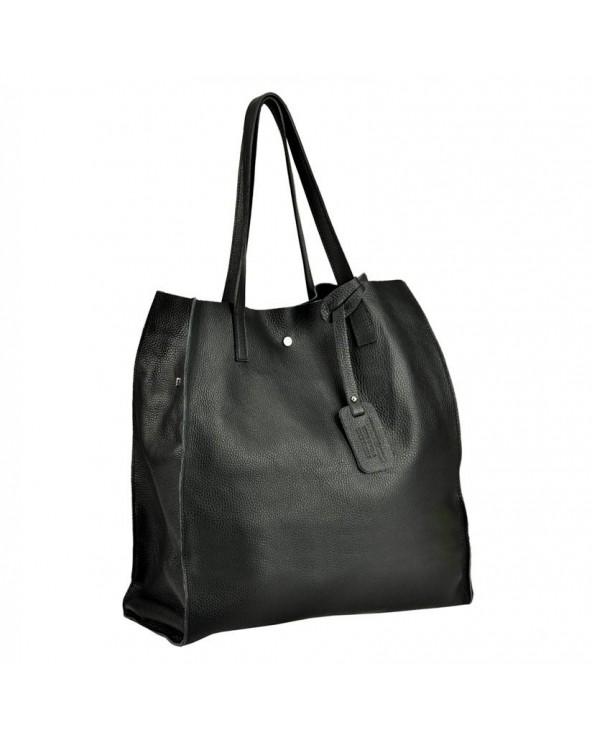 Włoska torebka skórzana vera pelle worek shopper czarna