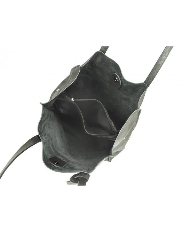 Włoska torebka skórzana vera pelle worek shopper czarna wnętrze