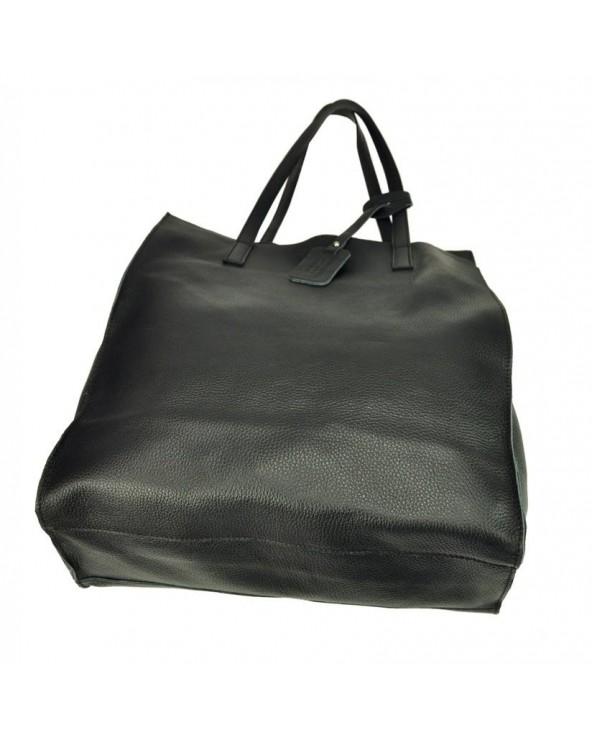 Włoska torebka skórzana vera pelle worek shopper czarna spód