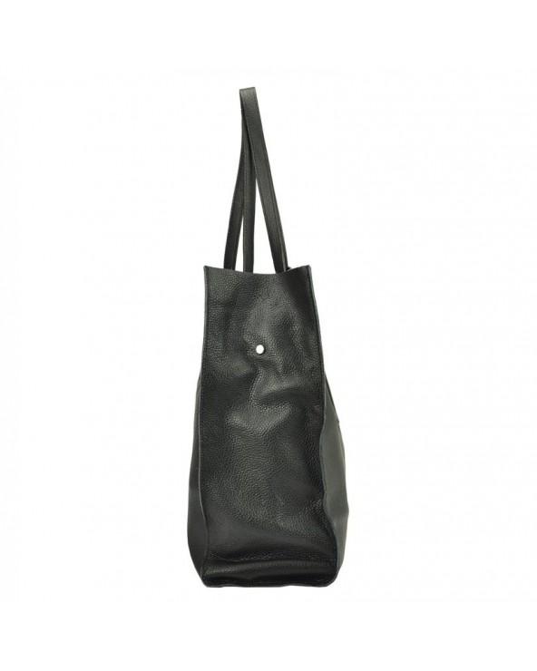 Włoska torebka skórzana vera pelle worek shopper czarna bok