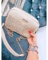 Płócienna lniana torebka na łańcuszku panterka