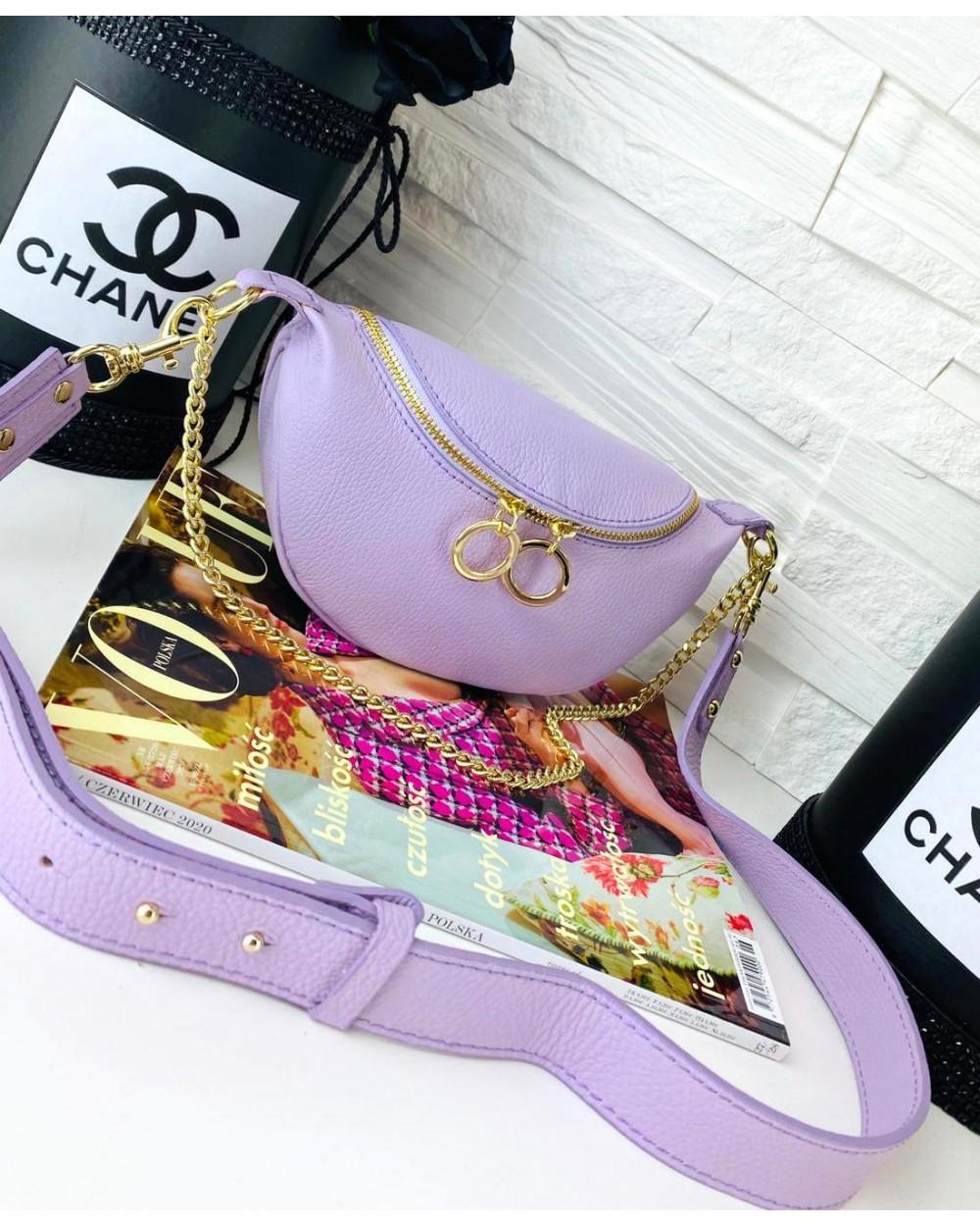 Saszetka nerka torebka z kółeczkami na szerokim pasku lila