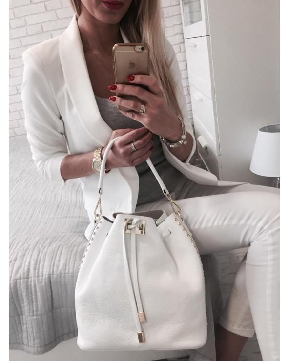 włoska torebka damska Skórzany worek z ćwiekami Biały