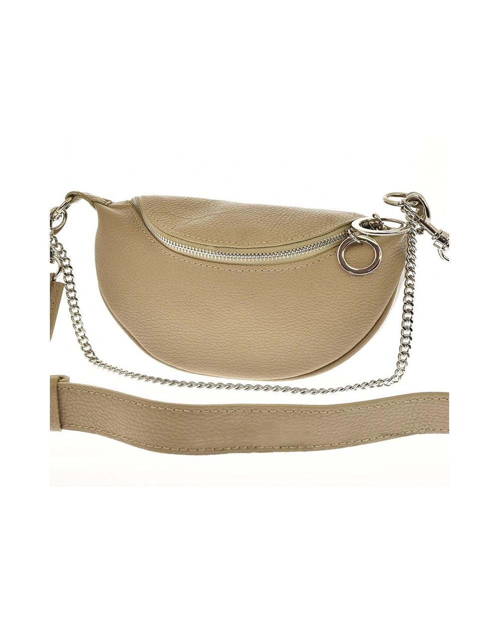 Saszetka nerka torebka z kółeczkami na szerokim pasku taupe