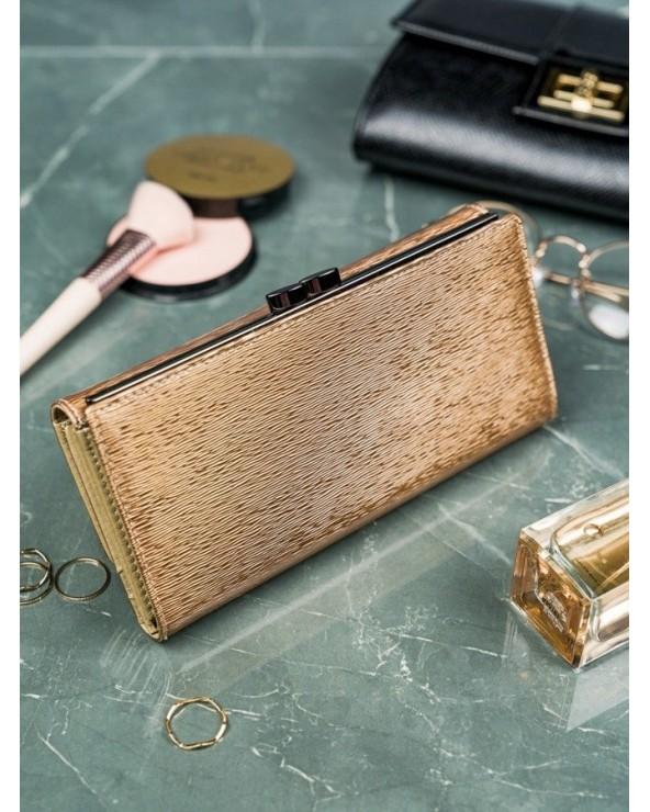 Elegancki damski portfel skórzany z biglem Lorenti złoty tył