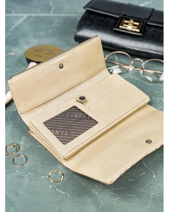Elegancki damski portfel skórzany z biglem Lorenti złoty wnętrze