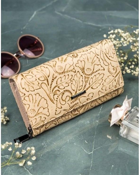 Damski portfel skórzany Lorenti liście złoty