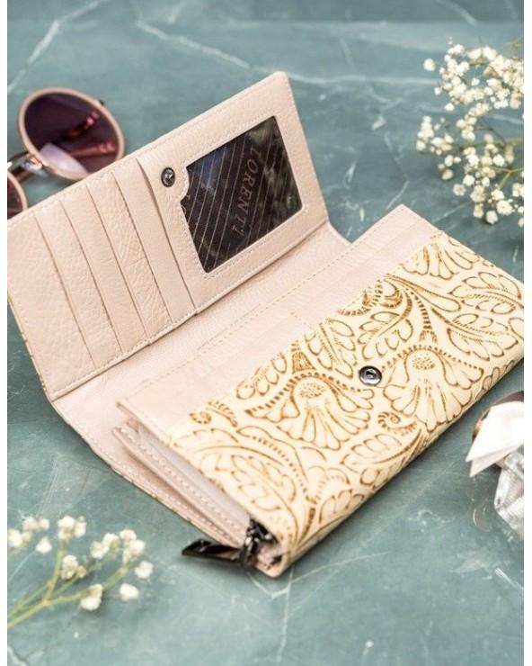 Damski portfel skórzany Lorenti liście złoty wnętrze