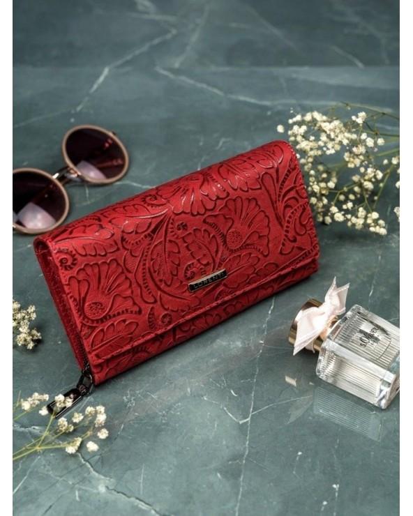 Stylowy Damski portfel skórzany Lorenti liście czerwony
